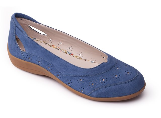 Padders DELTA Ladies Leather Extra Wide Slip On Summer Casual Shoes Denim Blue
